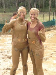Me and my sis after the mud swim